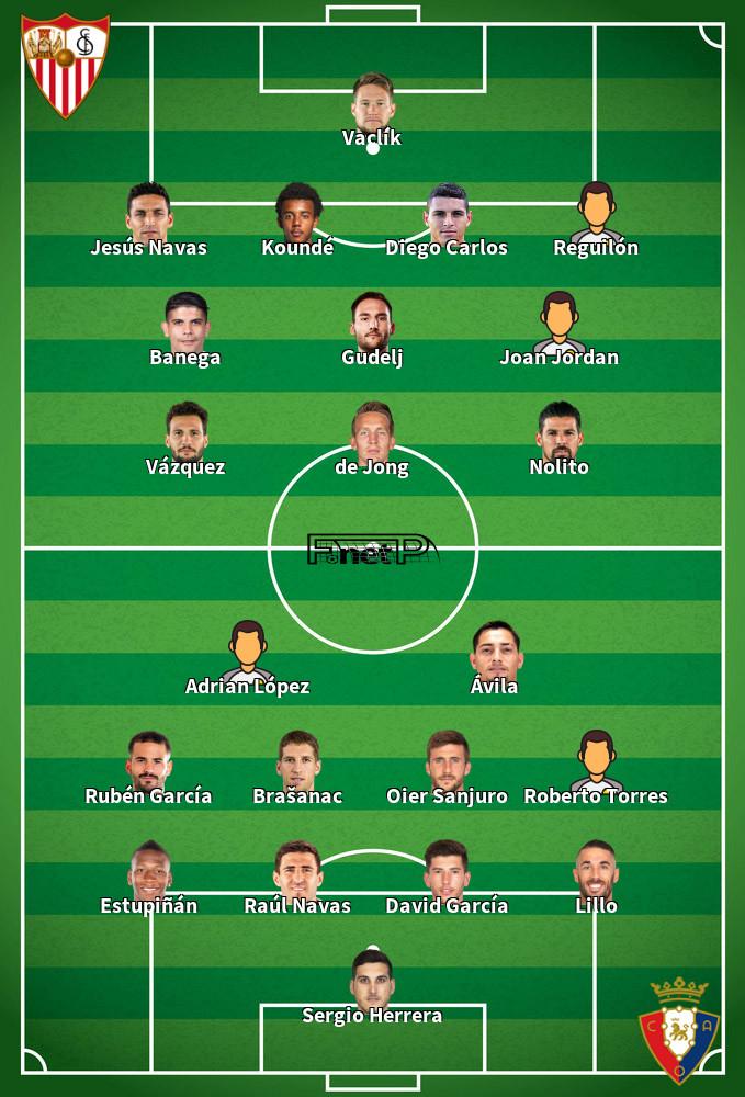 Osasuna v Sevilla Predicted Lineups 08-12-2019
