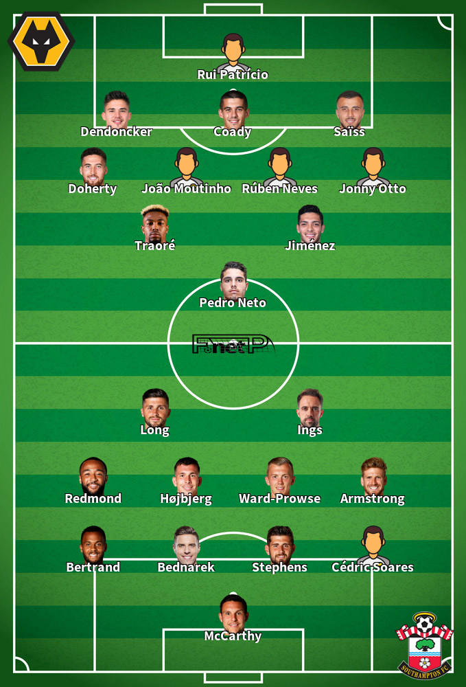 Southampton v Wolves Predicted Lineups 18-01-2020