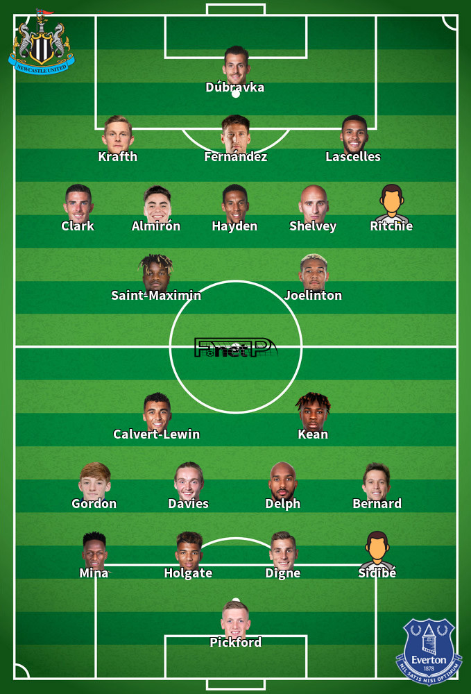 Everton v Newcastle Predicted Lineups 21-01-2020
