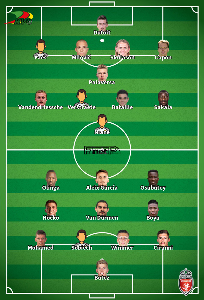 Royal Excel Mouscron v Oostende Predicted Lineups 08-02-2020