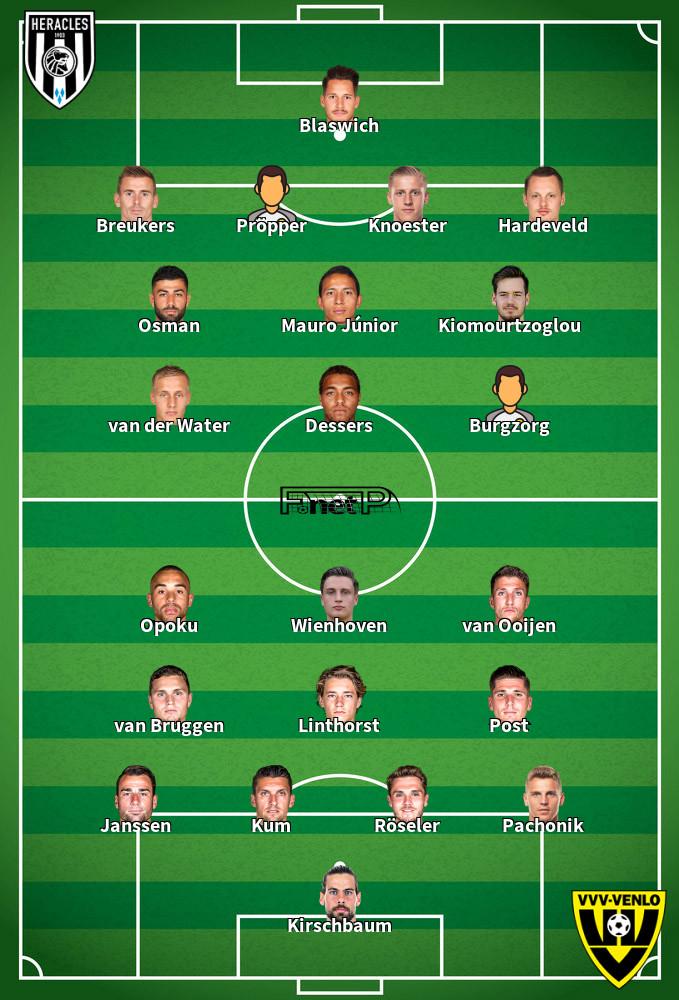 VVV-Venlo v Heracles Almelo Predicted Lineups 14-02-2020