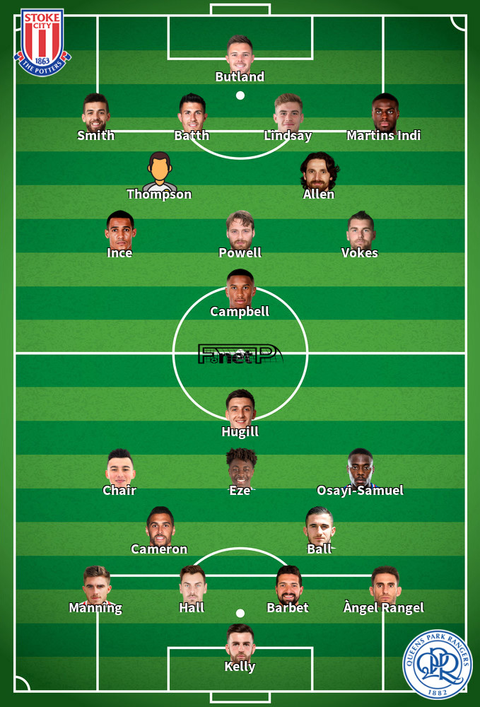 QPR v Stoke Predicted Lineups 15-02-2020