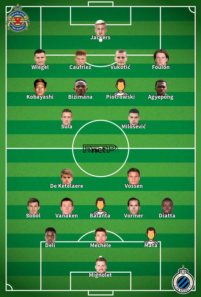 Club Brugge v Waasland-Beveren Predicted Lineups 15-02-2020