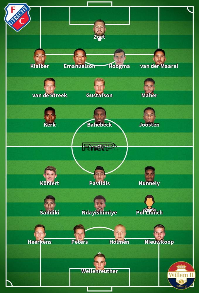 Willem II v FC Utrecht Predicted Lineups 16-02-2020