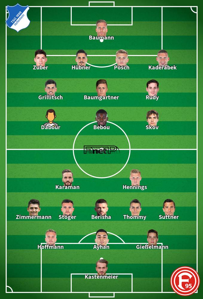 Fortuna Dusseldorf v Hoffenheim Predicted Lineups 06-06-2020