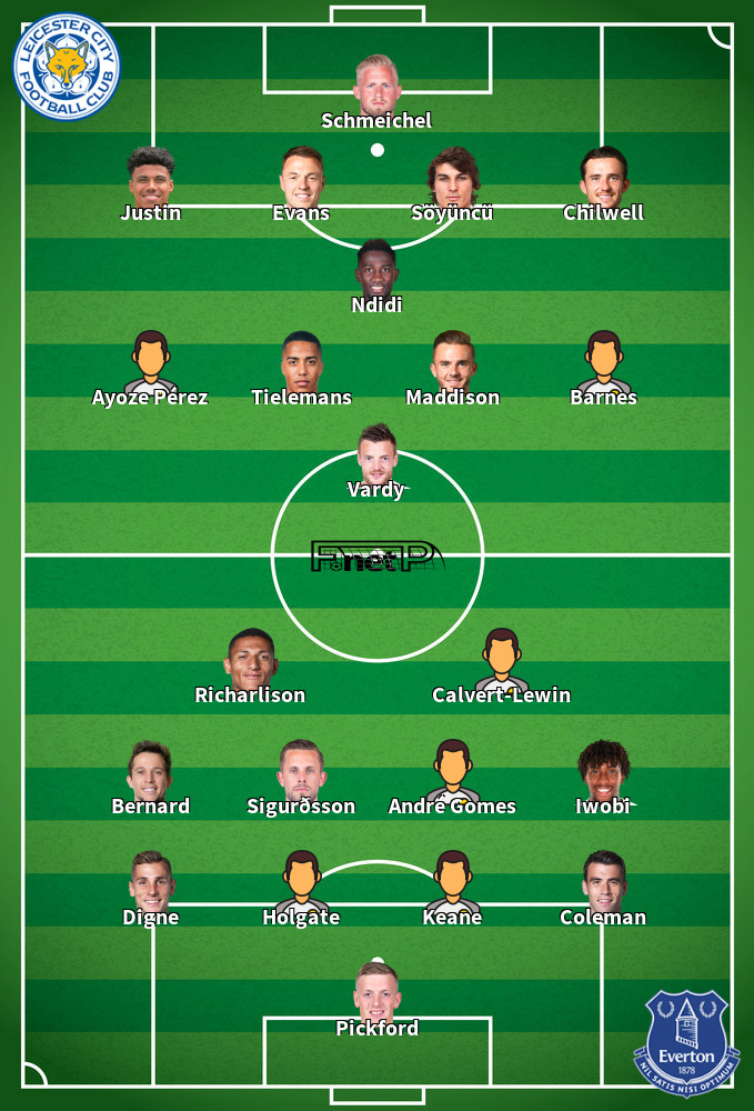 Everton v Leicester City Predicted Lineups 01-07-2020