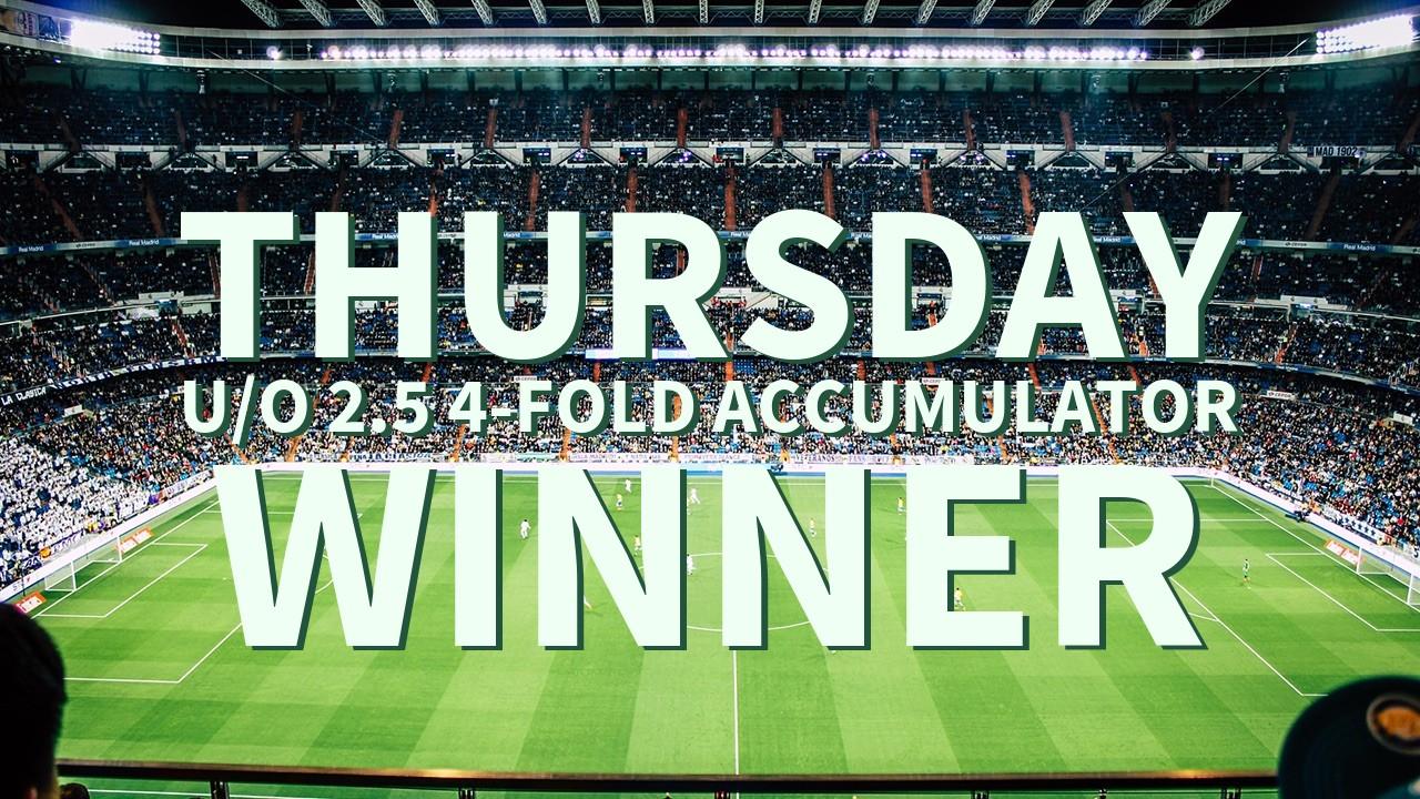 Thursday 3/1 U/O 2.5 4-Fold Accumulator Lands!