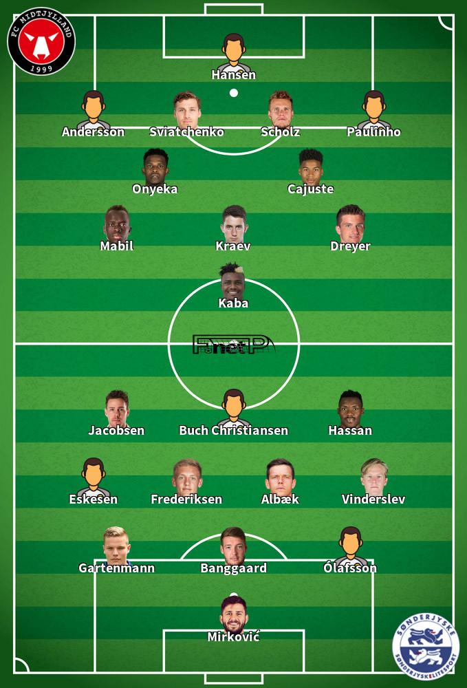 SønderjyskE v FC Midtjylland Predicted Lineups 11-09-2020