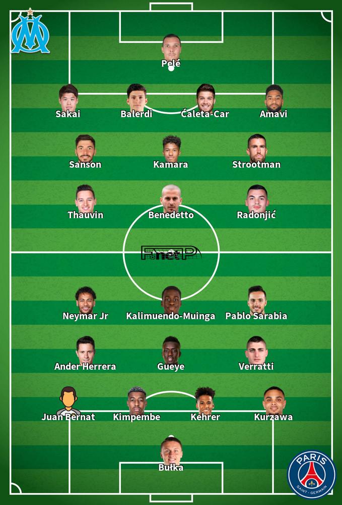 PSG v Marseille Predicted Lineups 13-09-2020