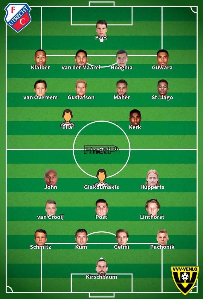 VVV-Venlo v FC Utrecht Predicted Lineups 18-09-2020