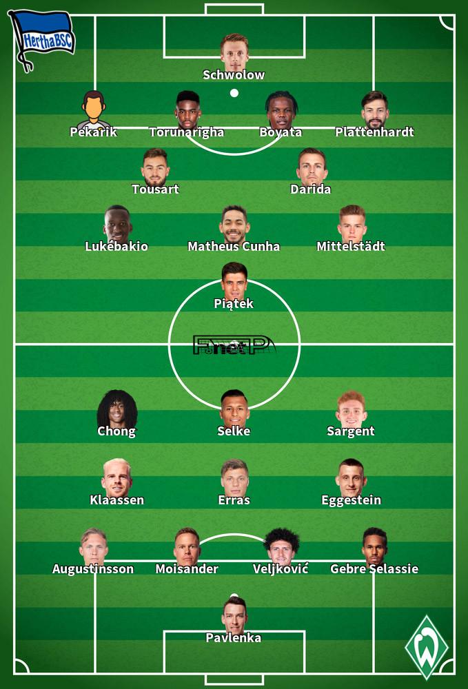 Werder Bremen v Hertha Berlin Predicted Lineups 19-09-2020