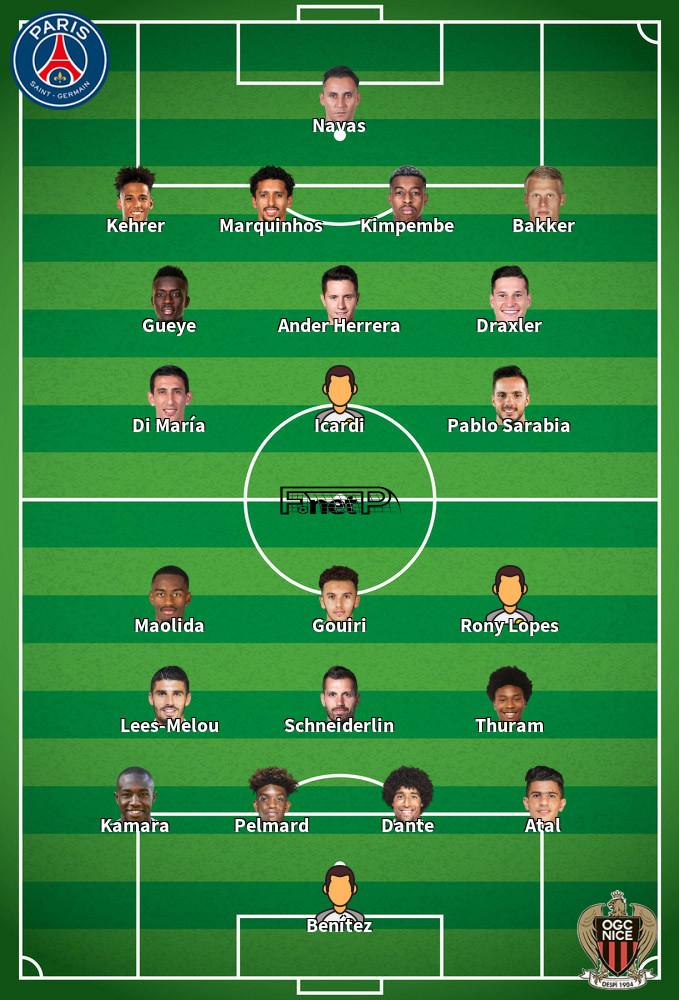 Nice v PSG Predicted Lineups 20-09-2020