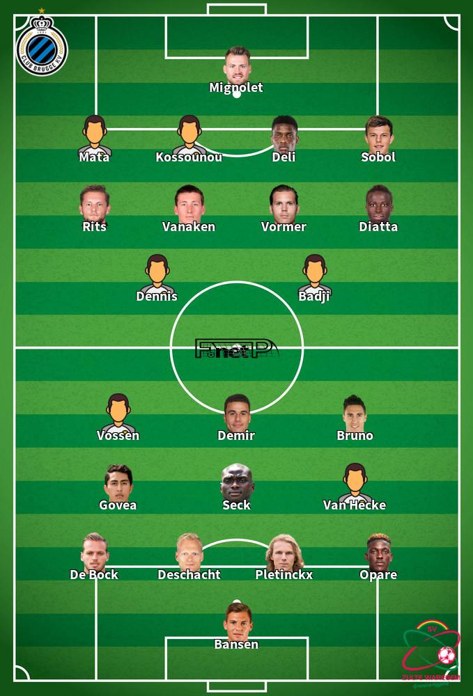 SV Zulte Waregem v Club Brugge Predicted Lineups 20-09-2020