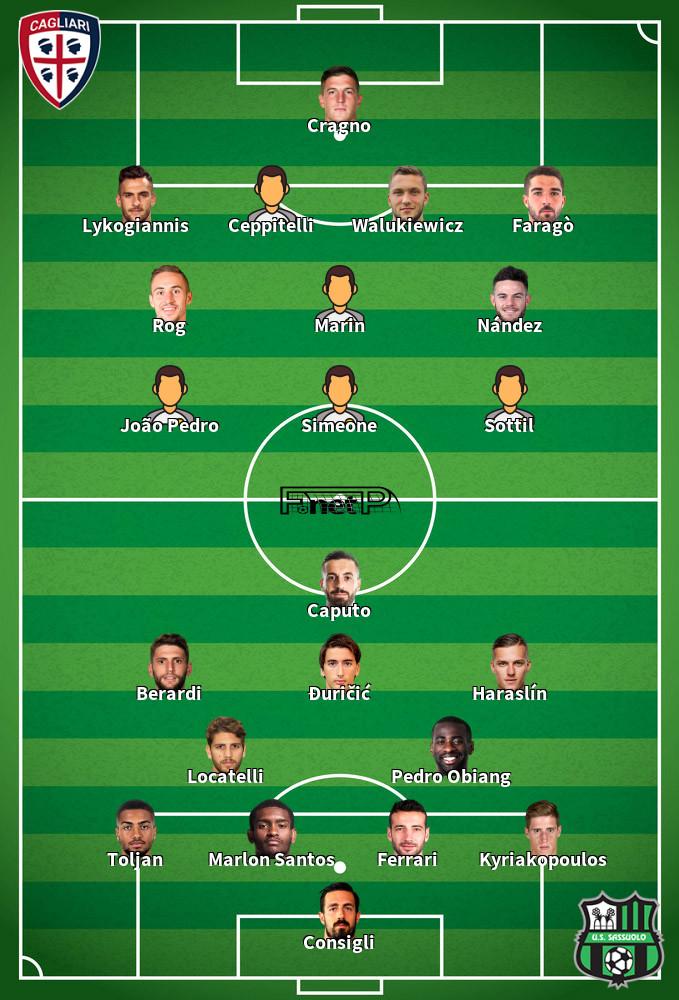 Sassuolo v Cagliari Predicted Lineups 20-09-2020