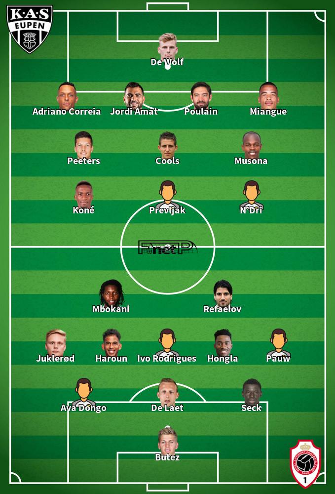 Antwerp v Eupen Predicted Lineups 20-09-2020