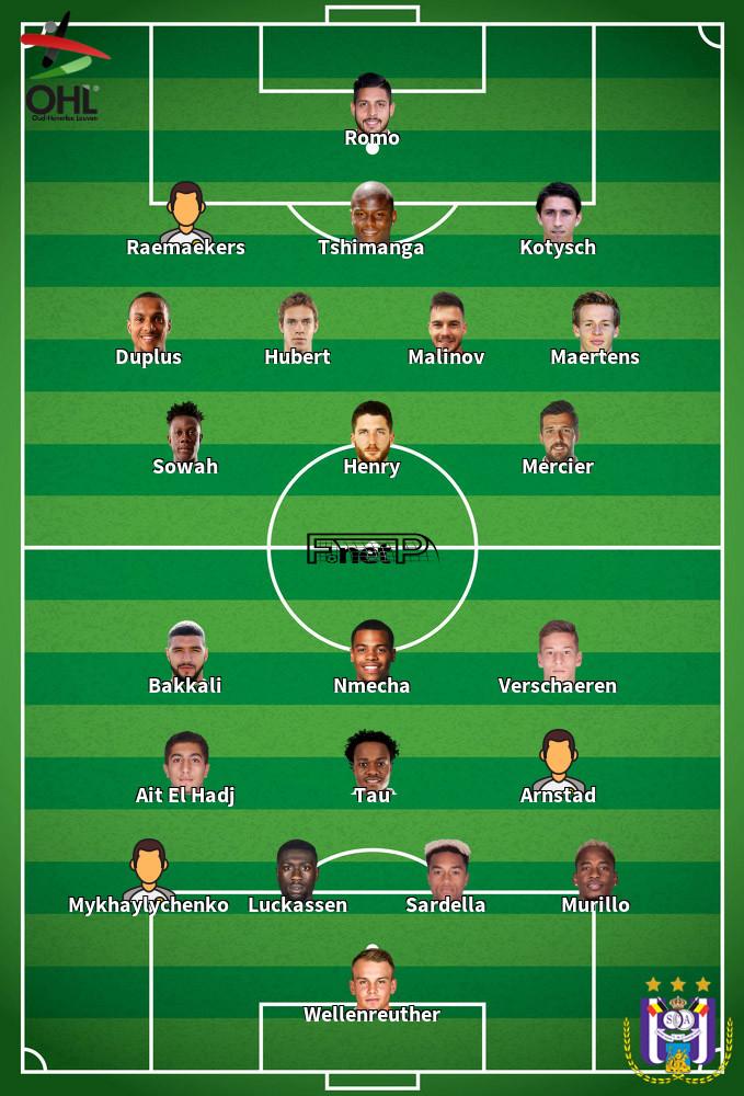 RSC Anderlecht v Oud-Heverlee Leuven Predicted Lineups 18-10-2020
