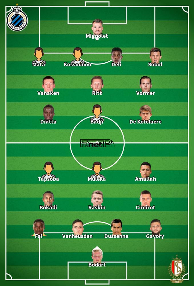 Standard Liège v Club Brugge Predicted Lineups 17-10-2020