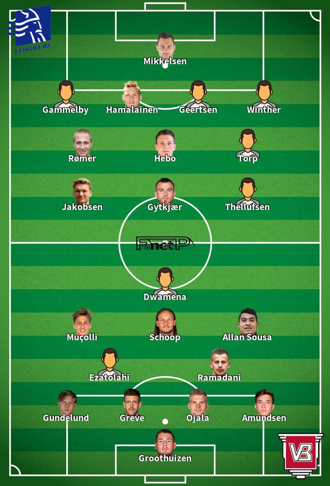 Vejle BK v Lyngby BK Predicted Lineups 18-10-2020