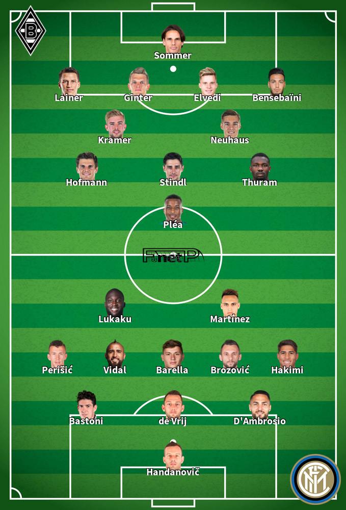 Inter Milan v Gladbach Predicted Lineups 21-10-2020
