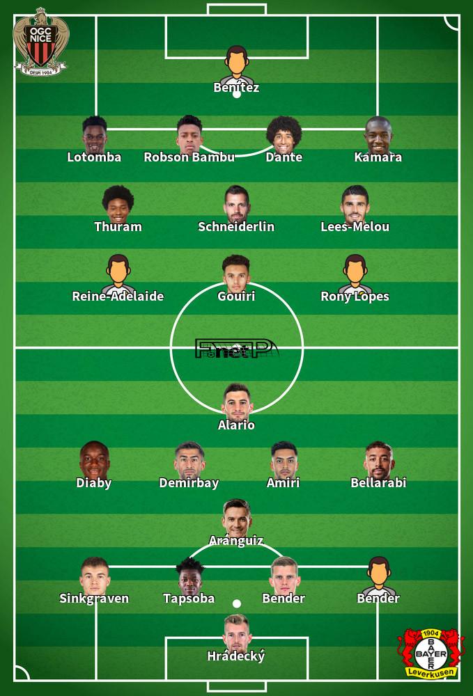 Bayer Leverkusen v Nice Predicted Lineups 22-10-2020